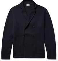 Camoshita Blue Unstructured Double Breasted Wool Blazer Navy