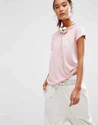 Daisy Street Relaxed T Shirt With Distressed Neck Blush Pink