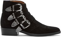 Toga Virilis Black Suede Western Buckle Boots