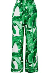 Dolce And Gabbana Printed Silk Twill Wide Leg Pants Green