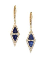 Meira T Pave Diamond Blue Sapphire Silver And 14K Yellow Gold Drop Earrings Gold Blue Sapphire