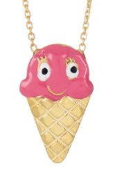 Gab Cos Designs 14K Gold Vermeil And Enamel Ice Cream Cone Cz Accented Pendant Necklace