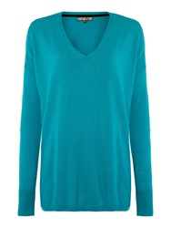 Biba Boxy Square Sparkle V Neck Jumper Teal