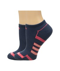 Adidas Climalite Ii 2 Pack No Show Socks Mineral Blue Shock Red Sun Glow Women's No Show Socks Shoes Navy
