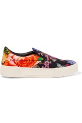 Balenciaga Floral Print Satin Slip On Sneakers Black