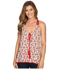 Roper 0350 Floral Print Rayon Tank Top Red Women's Sleeveless