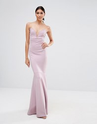 Missguided Bandeau Fishtail Maxi Dress Lilac Purple