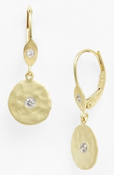 Meirat 'Charmed' Diamond Hammered Drop Earrings Yellow Gold