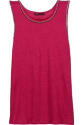 Maje Embellished Linen Tank Red