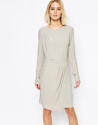Selected Milan Dress With Drape Skirt Grey