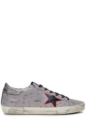 Golden Goose Superstar Grey Ostrich Effect Leather Trainers