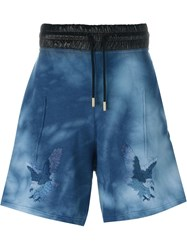 Off White Eagle Embroidered Shorts Blue