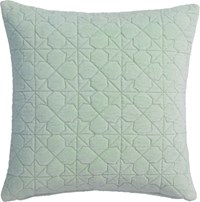 Cb2 August Quilted Mint 16'' Pillow With Feather Insert