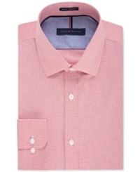 Tommy Hilfiger Men's Slim Fit Non Iron Cayenne Gingham Dress Shirt