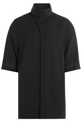 Rick Owens Men Short Sleeve Wool Shirt Black