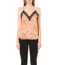 The Kooples Floral Print Silk Chiffon Top Orange