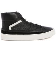 Billtornade Pitbull Grey Black Flannel Dual Fabric High Top Sneakers
