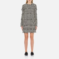 Msgm Women's Dog Tooth Fringed Dress Multi