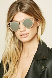 Forever 21 Cat Eye Mirrored Sunglasses Gold Silver
