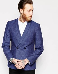 Noose And Monkey Double Breasted Blazer With Chain And Fleck In Super Skinny Fit Blue