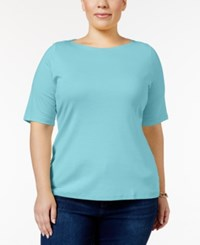 Charter Club Plus Size Boat Neck T Shirt Only At Macy's Angel Blue