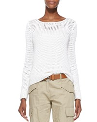 Michael Michael Kors Long Sleeve Boat Neck Sweater Optic White Women's