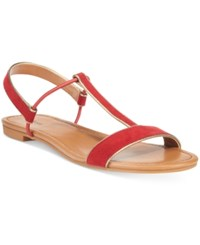 Styleandco. Style Co. Kristee T Strap Flat Sandals Only At Macy's Women's Shoes Deep Red