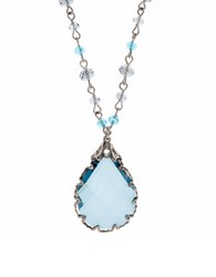 Lonna And Lilly Rhodium Plated Tear Drop Pendant Necklace Green