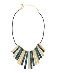 Lydell Nyc Patina And Metal Bib Necklace Green
