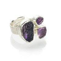 Poppy Jewellery Amethyst Three Stone Chunky Adjustable Silver Ring Pink Purple