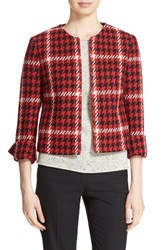 Helene Berman Women's Plaid Woven Collarless Jacket