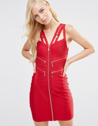 Forever Unique Marla Bandage Dress With Zip Details Red