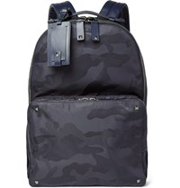 Valentino Leather Trimmed Camouflage Jacquard Backpack Blue