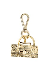 Moschino Gold Tone Brass Keychain Gold