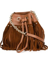 Diane Von Furstenberg Drawstring Fringed Crossbody Bag Brown