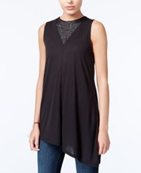 Rachel Roy Asymmetrical Lace Inset Top Only At Macy's Black