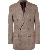 Thom Sweeney Brown Slim Fit Double Breasted Slub Wool Silk And Linen Blend Blazer Brown