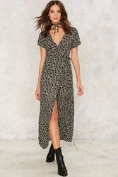 Floral To Ceiling Wrap Dress Black