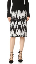 Salvatore Ferragamo Chevron Knit Skirt Black White
