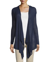 La Fee Verte Slub Knit Hooded Open Cardigan Navy