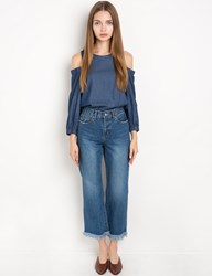 Pixie Market Dark Chambray Cut Out Shoulder Top
