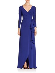 Pamella Pamella Roland Lattice Long Sleeve Ruched Dress Sapphire
