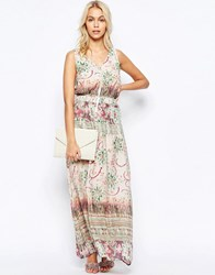 See U Soon Zip Front Maxi Dress In Washed Out Print Green