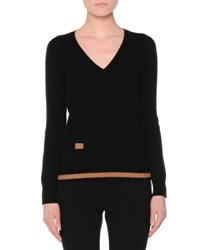 Agnona Long Sleeve V Neck Lipstick Sweater Black