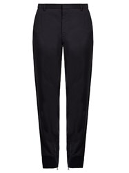 Lanvin Crepe Ribbed Cuff Trousers Blue