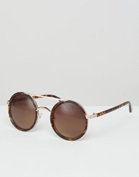 Missguided Round Tortoise Sheel Sunglasses Brown
