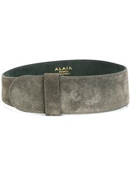 Alaia Vintage Wide Suede Belt Grey
