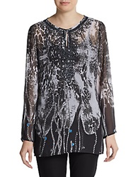 Saks Fifth Avenue Black Sequined And Beaded Sheer Printed Tunic Black Multi