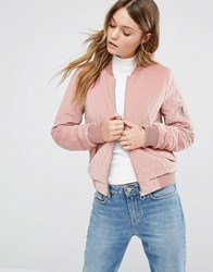 Only Quilted Velvet Bomber Pink