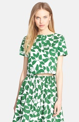 Kate Spade 'Garden Leaves' Stretch Cotton Crop Top Lucky Green
